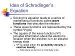 idea of schrodinger s equation