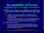 an example of focus inquiry research based education of undergraduates