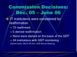 commission decisions dec 05 june 06