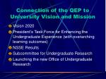 connection of the qep to university vision and mission