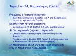 impact on sa mozambique zambia