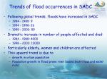 trends of flood occurrences in sadc