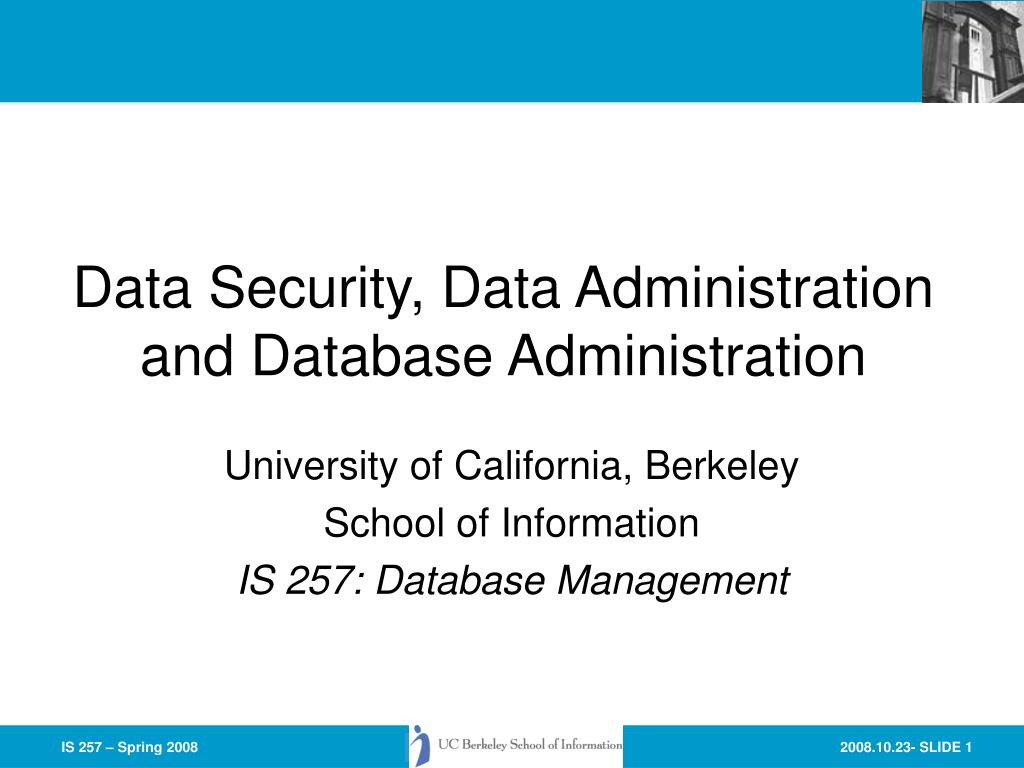 data security data administration and database administration l.