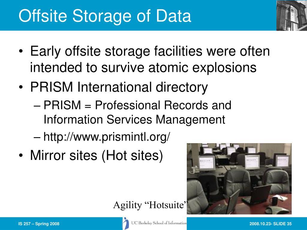 Offsite Storage of Data