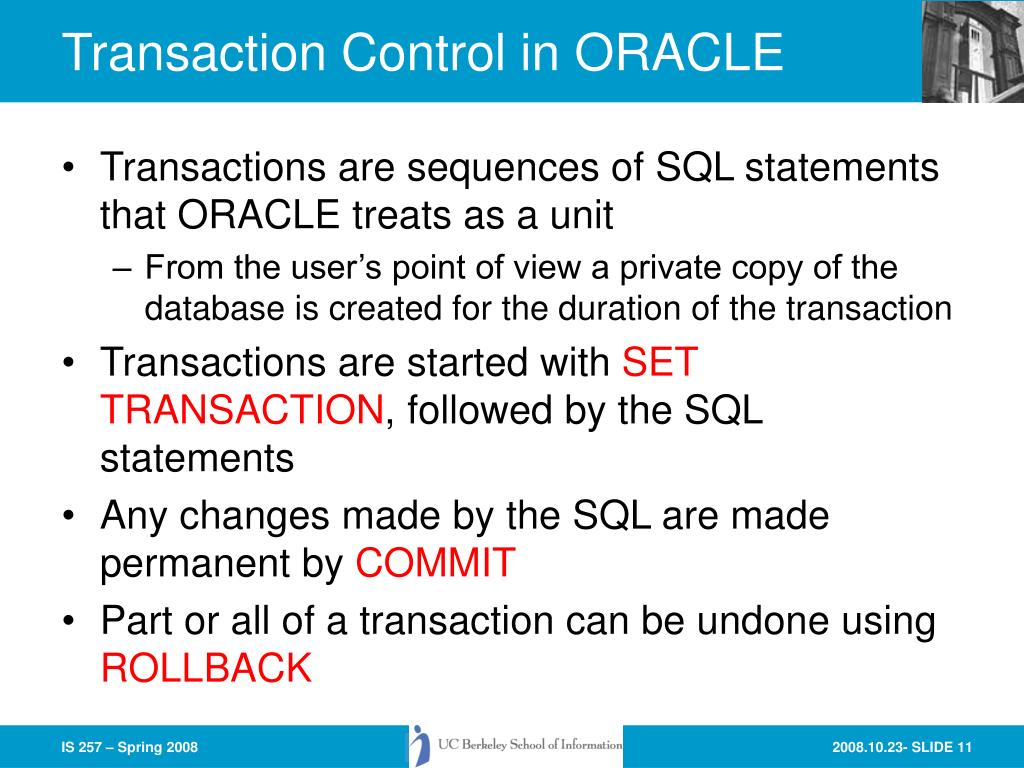 Transaction Control in ORACLE