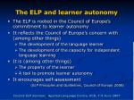 the elp and learner autonomy