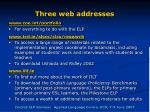 three web addresses