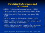 validated elps developed in ireland