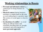 working relationships in russia