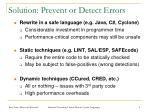 solution prevent or detect errors