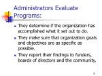administrators evaluate programs