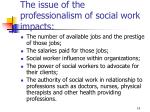 the issue of the professionalism of social work impacts