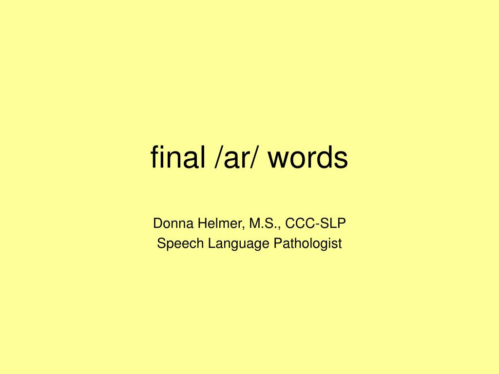 final ar words l.