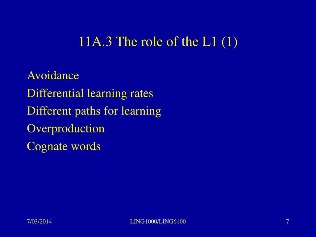 11A.3 The role of the L1 (1)