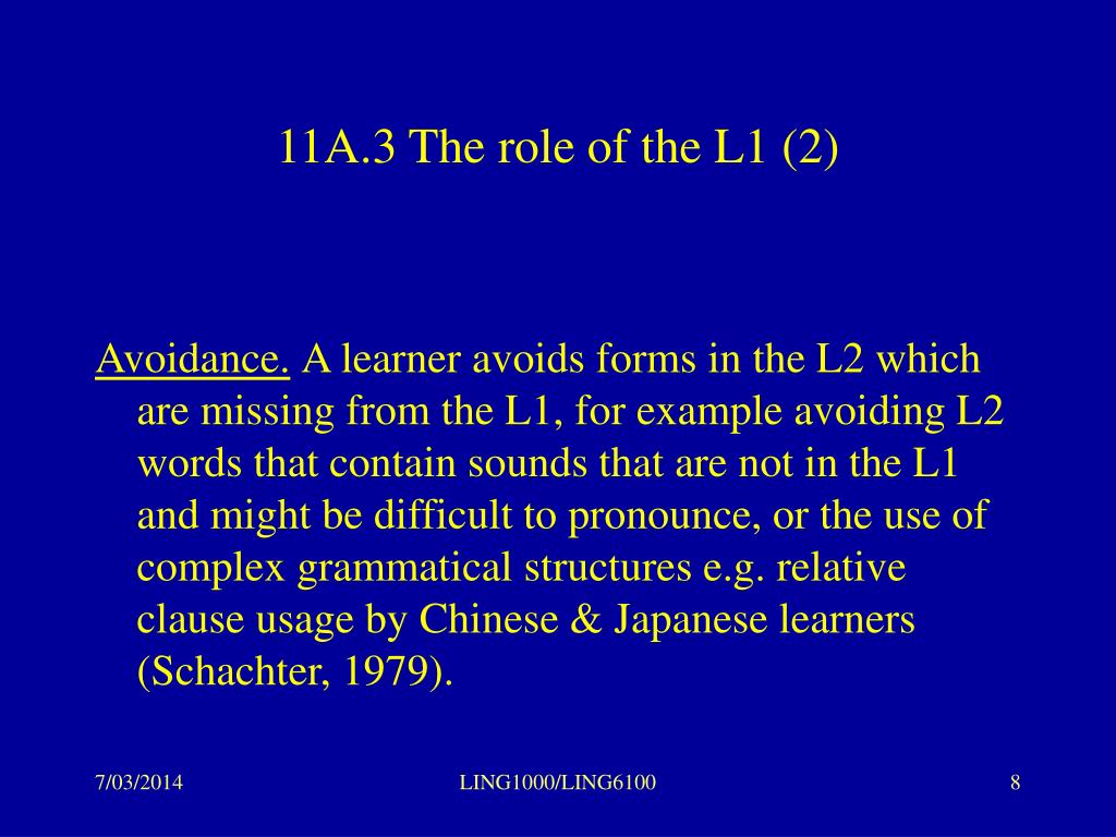 11A.3 The role of the L1 (2)