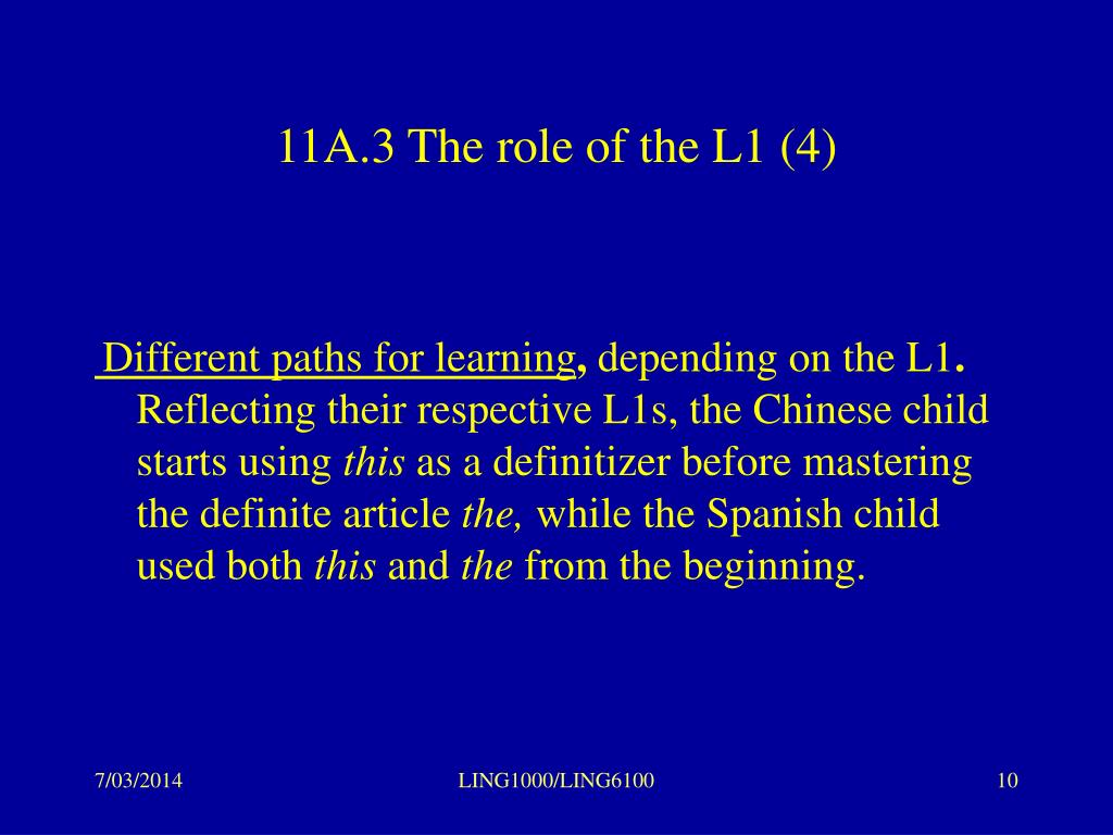 11A.3 The role of the L1 (4)
