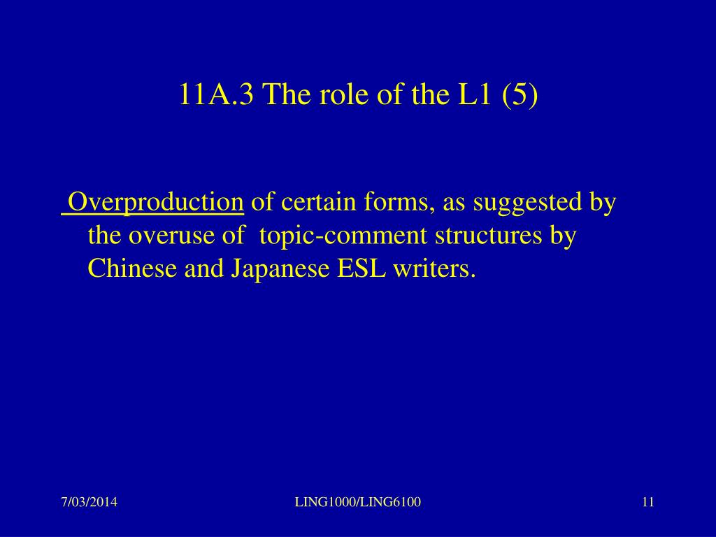 11A.3 The role of the L1 (5)