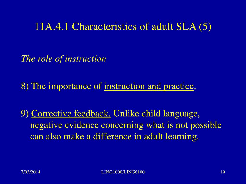 11A.4.1 Characteristics of adult SLA (5)