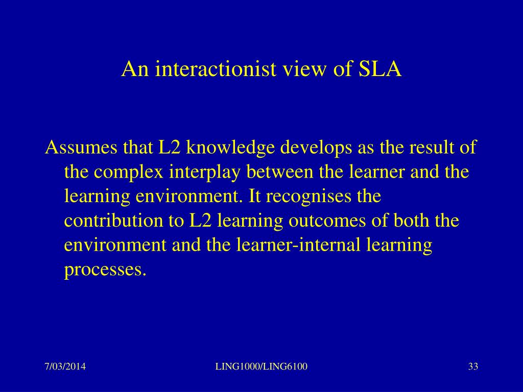 An interactionist view of SLA