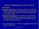 factors contributing to success in sla41