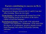 factors contributing to success in sla42