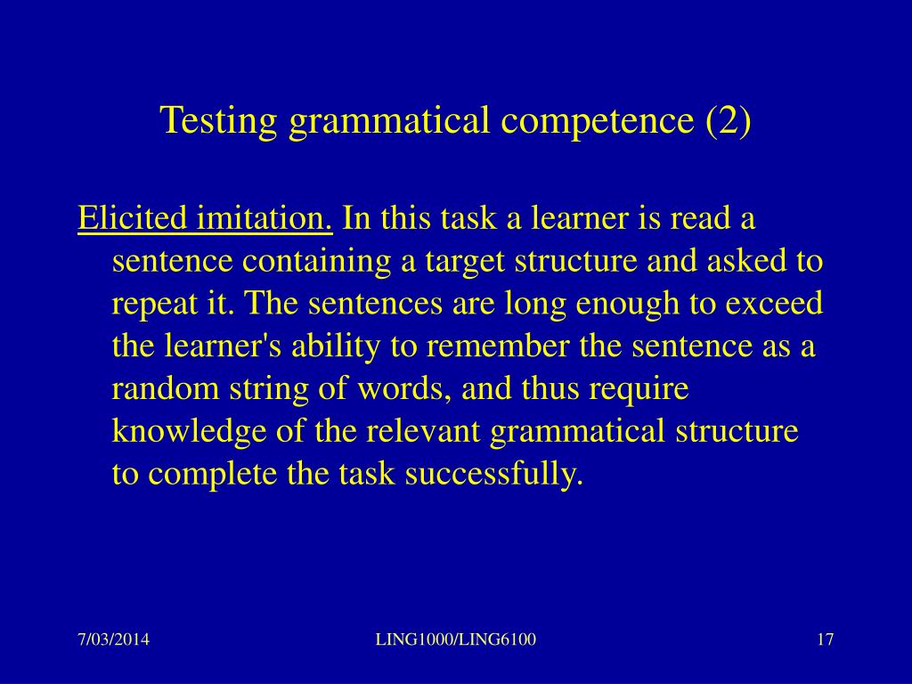 Testing grammatical competence (2)