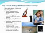 why is critical thinking important to student learning