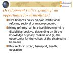 development policy lending an opportunity for disabilities