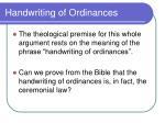 handwriting of ordinances