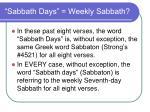 sabbath days weekly sabbath