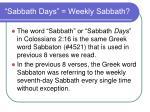 sabbath days weekly sabbath26