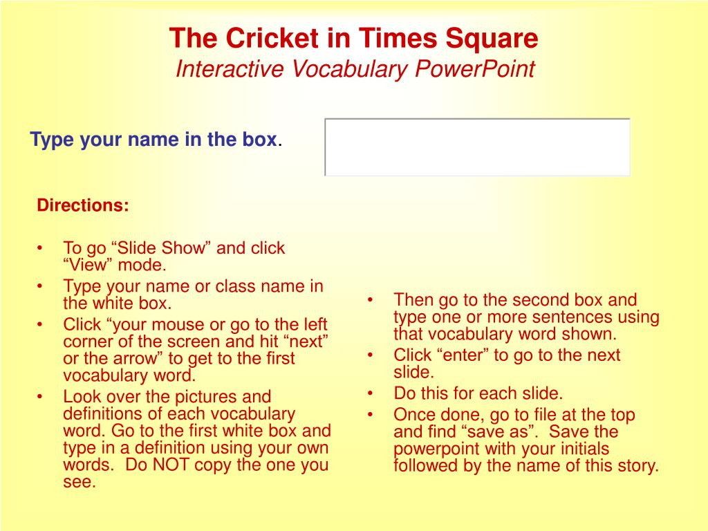 the cricket in times square interactive vocabulary powerpoint l.
