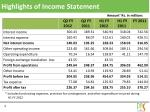 highlights of income statement