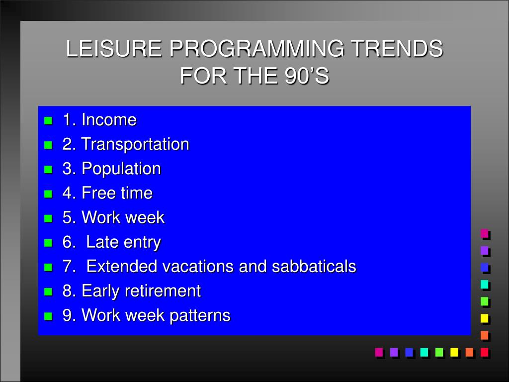 leisure programming trends for the 90 s l.