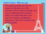 interview warm up