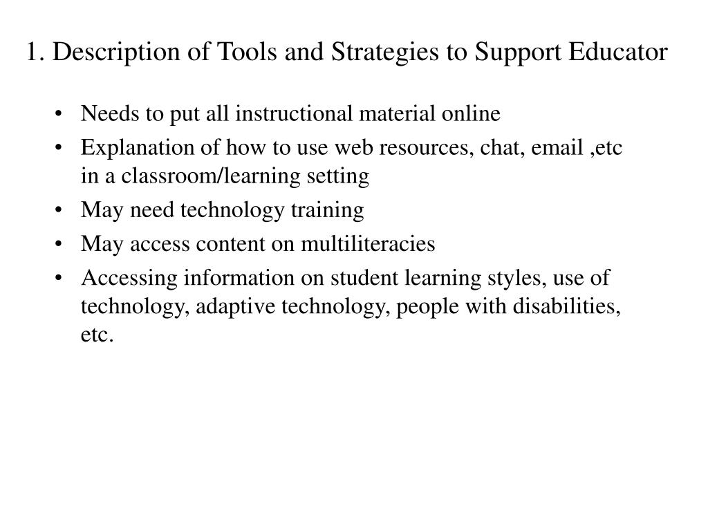 Needs to put all instructional material online