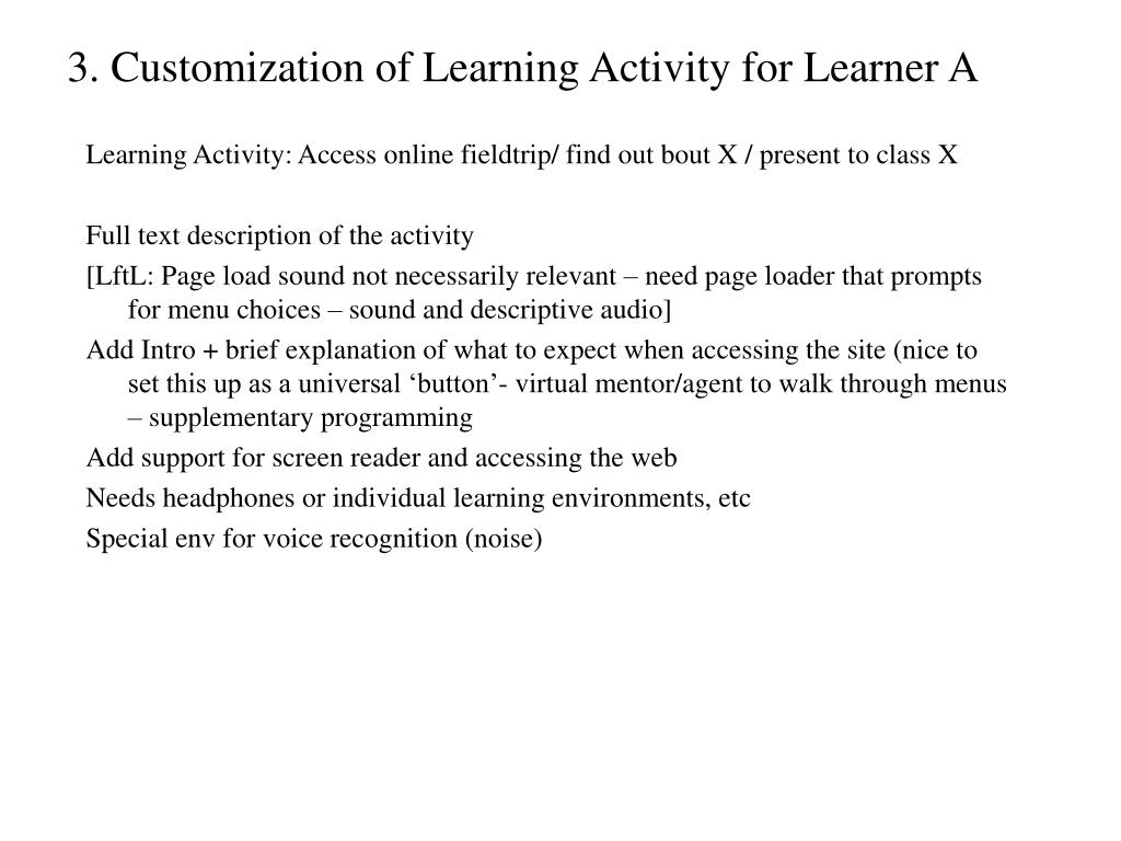 3. Customization of Learning Activity for Learner A