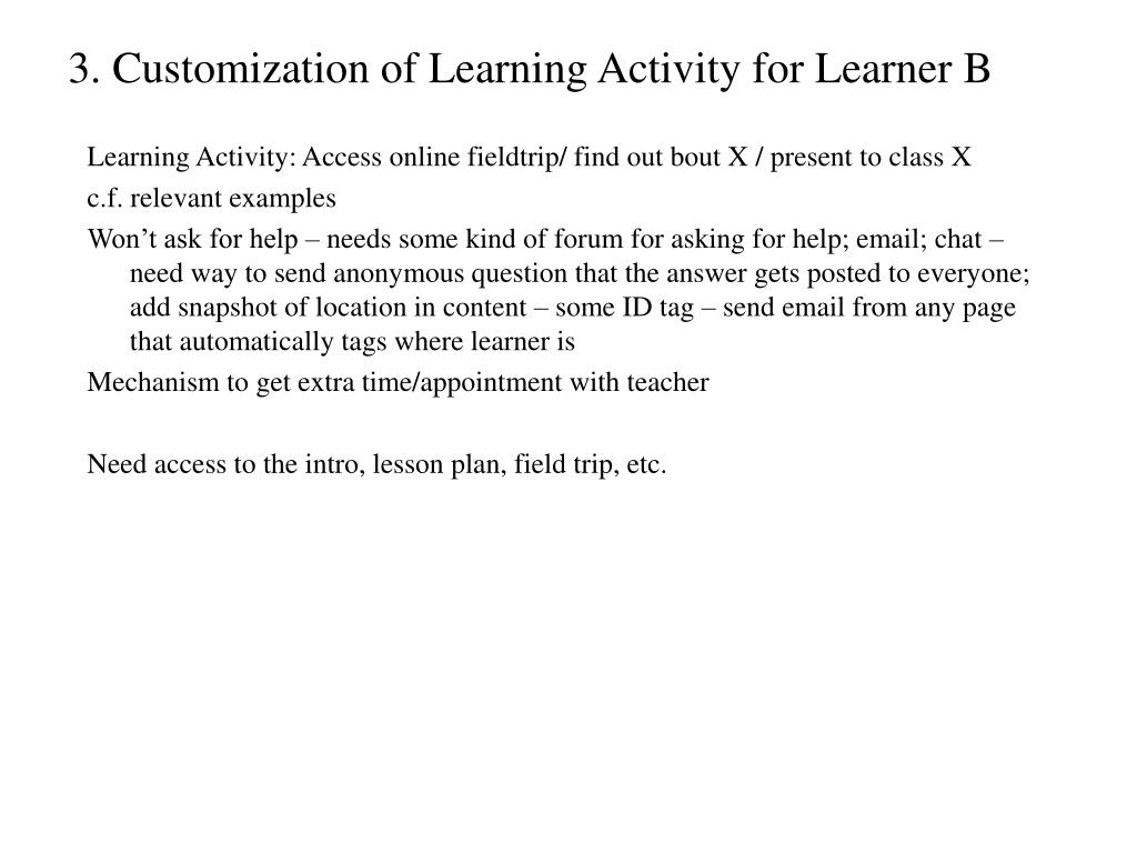 3. Customization of Learning Activity for Learner B