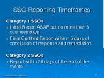 sso reporting timeframes