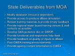 state deliverables from moa