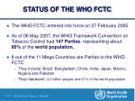 status of the who fctc