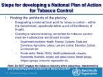 steps for developing a national plan of action for tobacco control