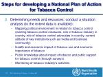 steps for developing a national plan of action for tobacco control6