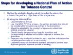 steps for developing a national plan of action for tobacco control7