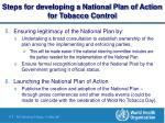 steps for developing a national plan of action for tobacco control8