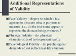additional representations of validity
