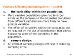factors affecting sampling error cont d