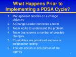 what happens prior to implementing a pdsa cycle