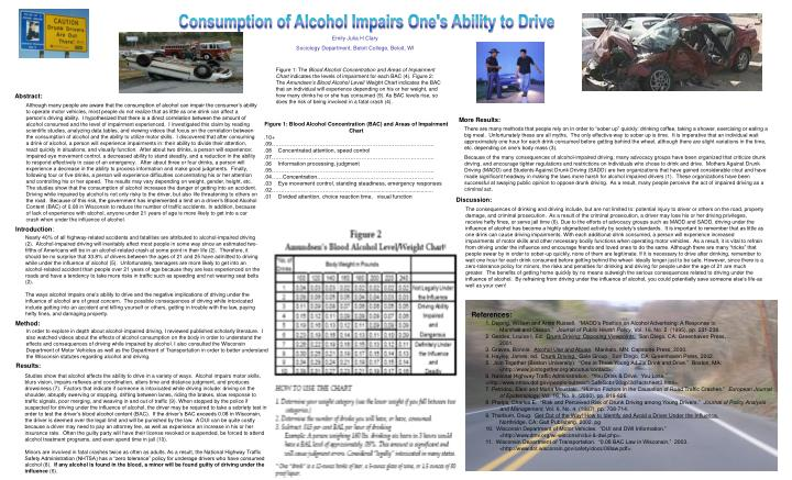 Consumption of Alcohol Impairs One's Ability to Drive