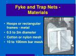 fyke and trap nets materials